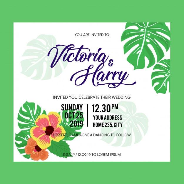 Carte de mariage invitation tropicale Vecteur Premium