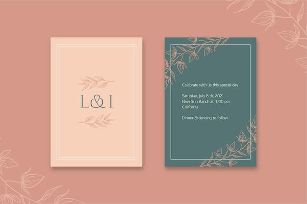 Carte De Mariage Minimale Vecteur Premium