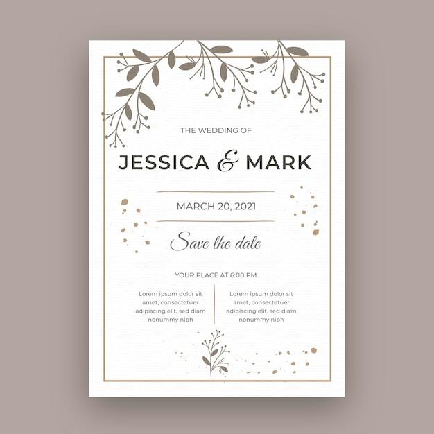 Carte De Mariage Minimale Vecteur gratuit
