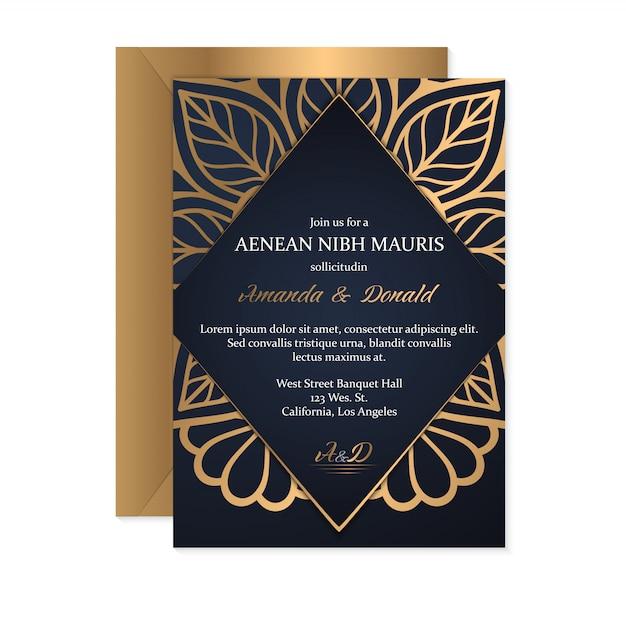 Carte de mariage en or Vecteur gratuit