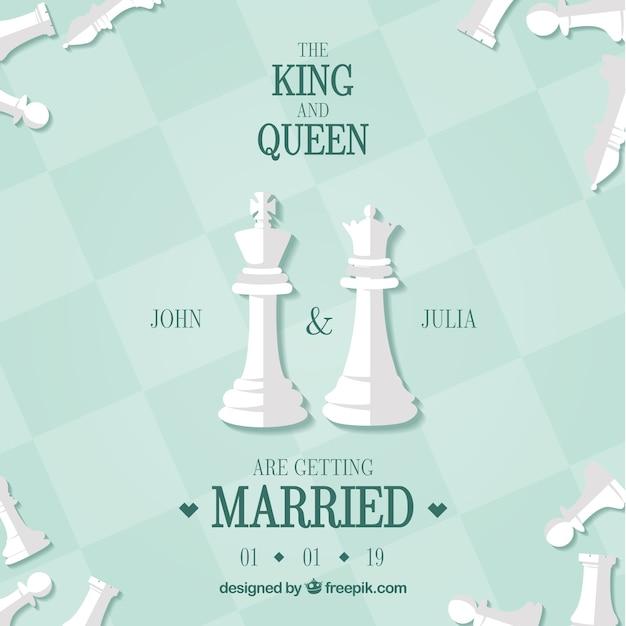 Carte de mariage avec des pièces d'échecs Vecteur gratuit