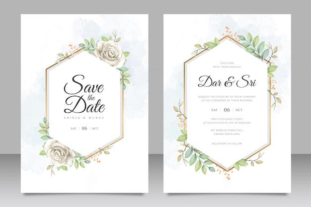 Carte de mariage sertie modèle avec aquarelle de fleurs et feuilles Vecteur Premium