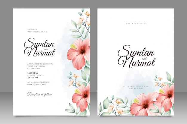 Carte de mariage sertie modèle avec aquarelle de fleurs Vecteur Premium