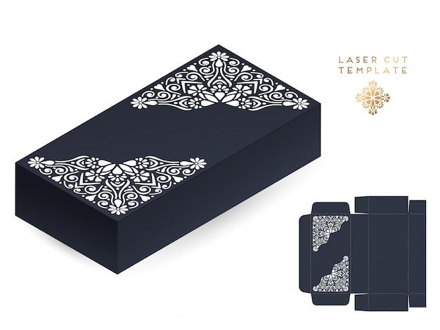 Carte De Mariage De Vecteur Découpé Au Laser Boîte De Modèle Vecteur gratuit