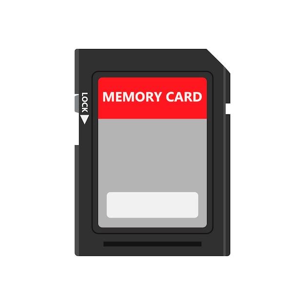 Carte Mémoire Vue De Face Symbole Magasin Adaptateur Vecteur Icône Disque Flash. Vecteur Premium