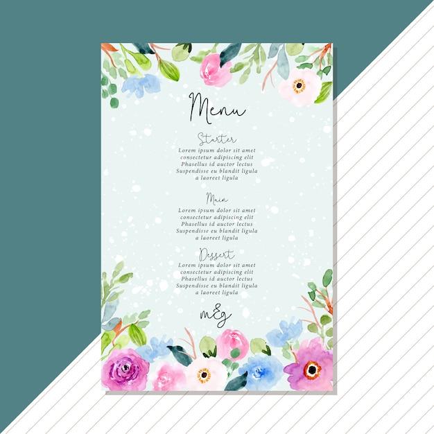 Carte de menu de mariage avec cadre aquarelle floral rose bleu Vecteur Premium