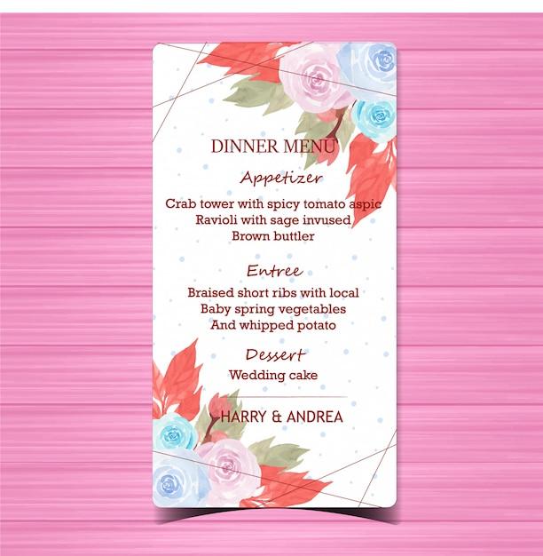 Carte de menu de mariage floral avec de belles roses bleues et roses Vecteur Premium