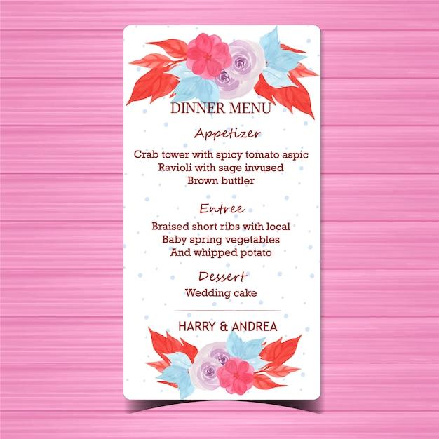 Carte de menu de mariage floral avec de belles roses pourpres Vecteur Premium