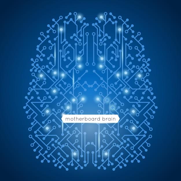 Carte mère de circuit informatique en technologie de forme de cerveau et illustration vectorielle de intelligence artificielle concept Vecteur gratuit