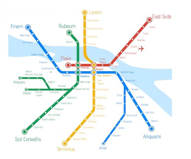 Carte de métro vector avec rivière. Vecteur Premium