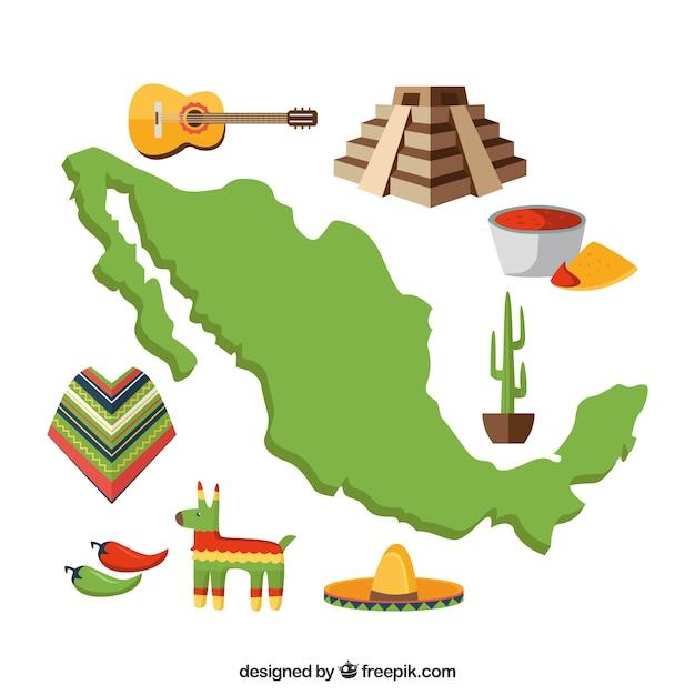 Carte mexicaine avec des éléments culturels Vecteur gratuit
