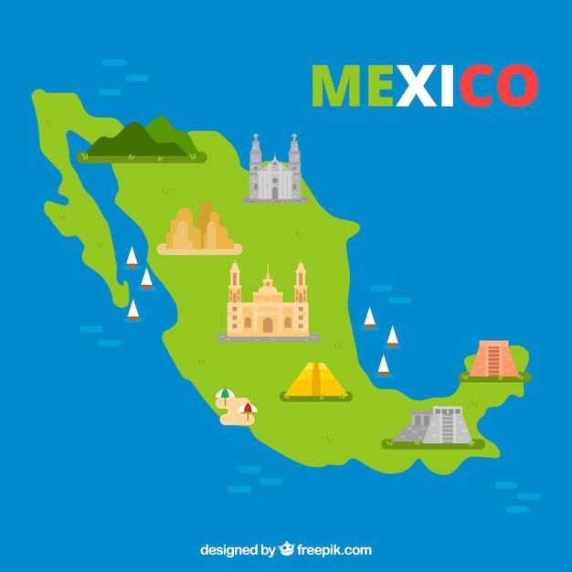 Carte Mexicaine Avec Fond D'éléments Vecteur gratuit