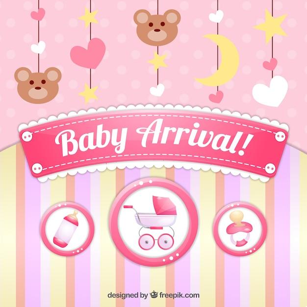 Carte mignonne d'arrivée de bébé avec la décoration Vecteur gratuit
