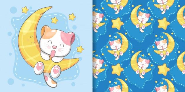 Carte de modèle et illustration sans couture chat mignon dessiné à la main Vecteur Premium