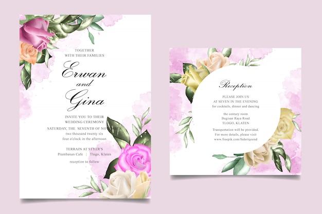 Carte de modèle d'invitation de mariage avec aquarelle florale et feuilles Vecteur Premium