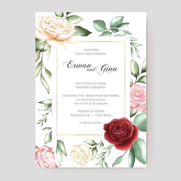 Carte de modèle invitation mariage aquarelle Vecteur Premium