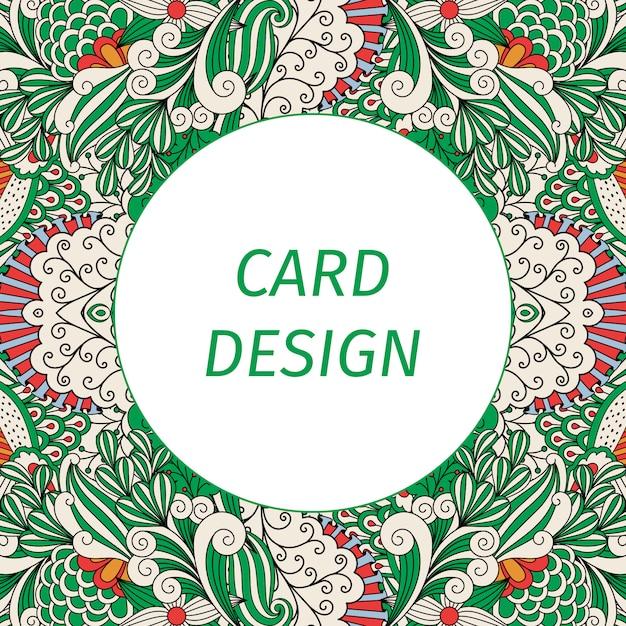 Carte avec motif floral vert Vecteur Premium