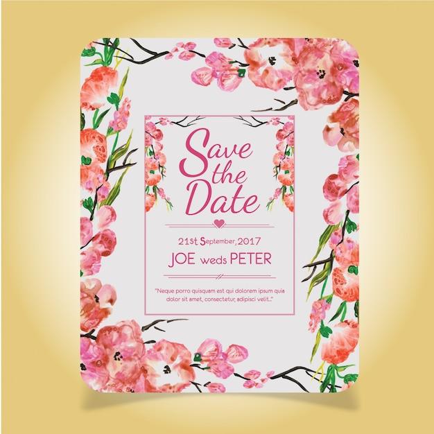 Carte à Motif D'invitation En Mariage Floral Rose Vecteur Premium