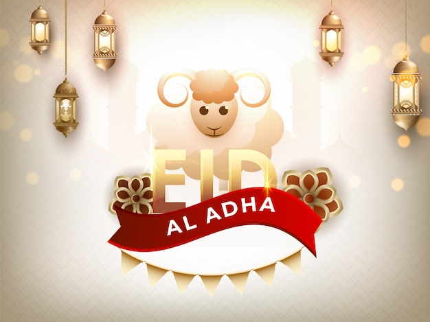Carte de mouton avec calligraphie texte eid al adha Vecteur Premium