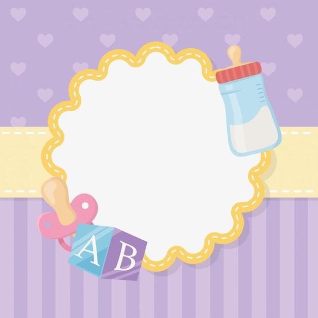 Carte de naissance avec un biberon Vecteur gratuit