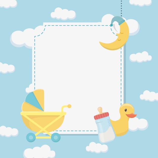 Carte de naissance avec canard en caoutchouc et accessoires Vecteur gratuit
