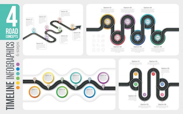 Carte de navigation infographique chronologique en 6 étapes Vecteur Premium