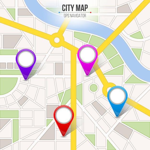Carte navigation rue infographie ville rue. Vecteur Premium
