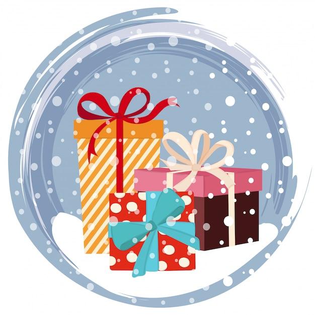 Carte de noël avec des cadeaux Vecteur Premium