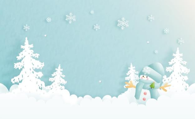Carte De Noël, Célébrations Avec Bonhomme De Neige Mignon Et Papier Découpé La Scène De Noël En Bleu, Illustration. Vecteur Premium