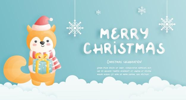 Carte De Noël, Célébrations Avec Jolie Scène De Noël De Renard, Illustration. Vecteur Premium