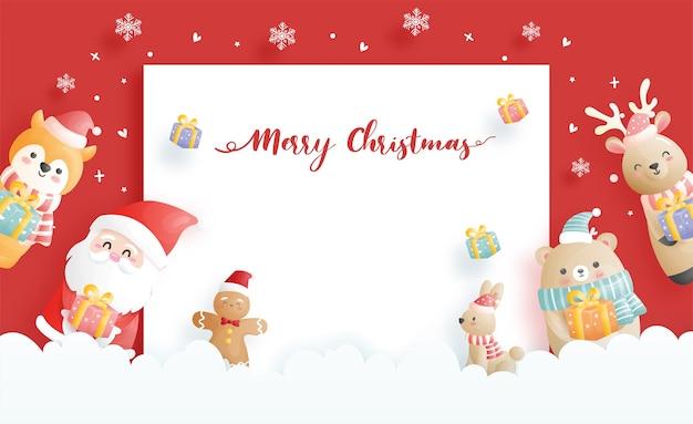 Carte De Noël, Célébrations Avec Le Père Noël Et Ses Amis, Scène De Noël En Illustration De Style Papier Découpé. Vecteur Premium