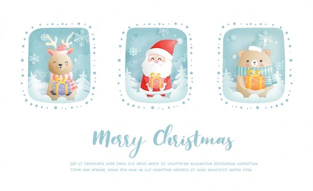 Carte De Noël, Célébrations Avec Le Père Noël Et Ses Amis, Scène De Noël En Papier Découpé Vecteur Premium