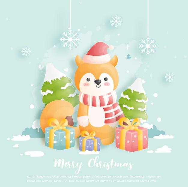 Carte De Noël, Célébrations Avec Renard Mignon Et Boîte-cadeau Et Scène De Noël Vecteur Premium