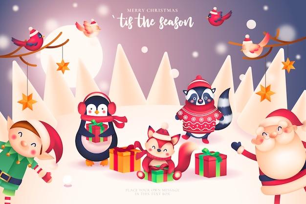 Carte De Noël Drôle Avec Le Père Noël Et Ses Amis Vecteur gratuit