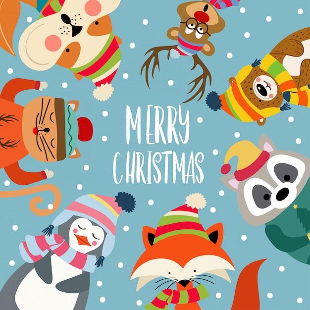 Carte De Noël Avec De Jolis Animaux Habillés Et Des Voeux