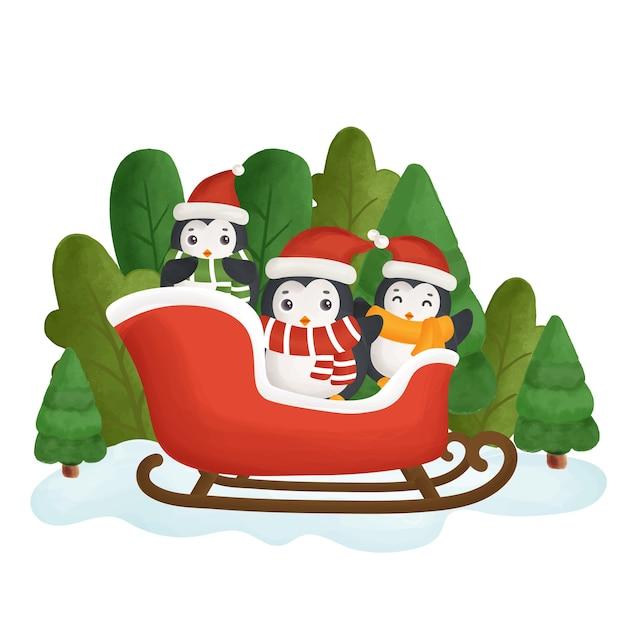 Carte De Noël Joyeux Avec Un Pingouins Mignons Dans La Forêt. Vecteur Premium
