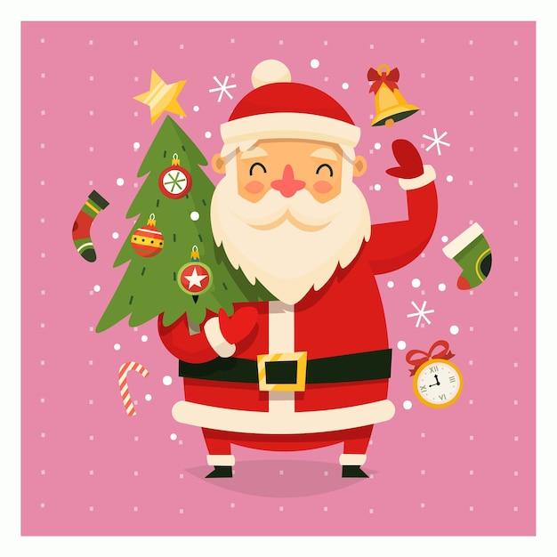 Carte De Noël Avec Le Père Noël Portant Un Arbre Vecteur Premium