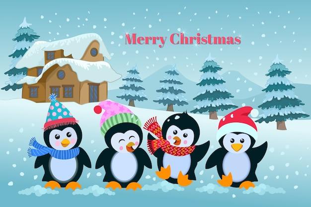 Carte de noël de pingouins de dessin animé mignon. Vecteur Premium