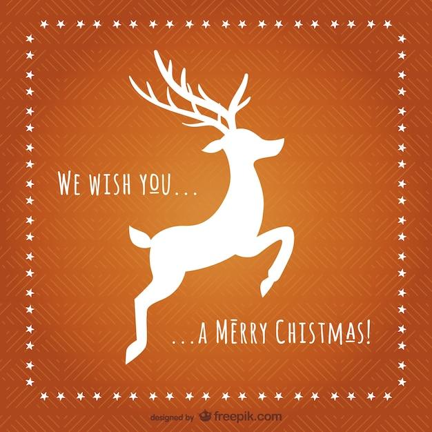 Carte De Noël Avec Le Renne Silhouette Vecteur gratuit