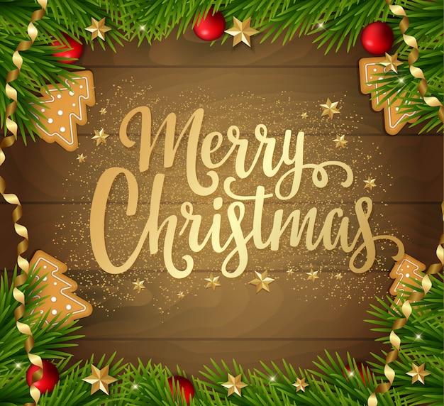 Carte De Noël Avec Sapin, Décorations Et Lettrage. Vecteur Premium