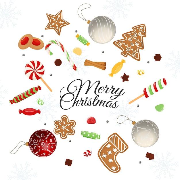 Carte De Noël Avec Des Souhaits Vecteur Premium