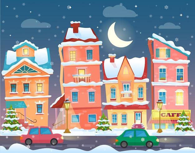 Carte De Noël De Vecteur Avec Une Vieille Ville Décorée Enneigée à La Veille De Noël Dans La Nuit. Vecteur Premium