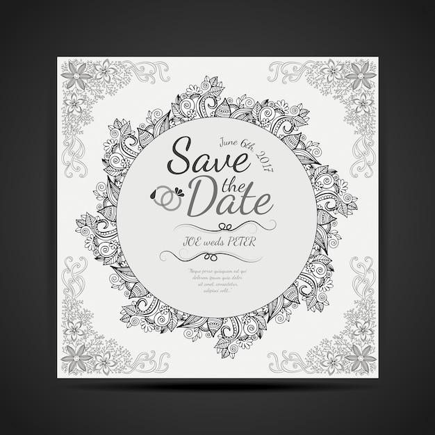 Carte Noire Et Blanche Dessinée à La Main Dessin Mandala Design Invitaion Vecteur gratuit