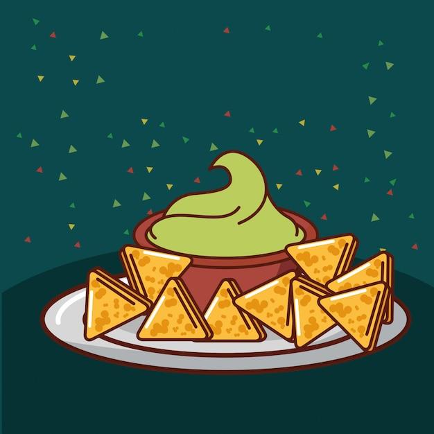 Carte de la nourriture mexicaine Vecteur Premium
