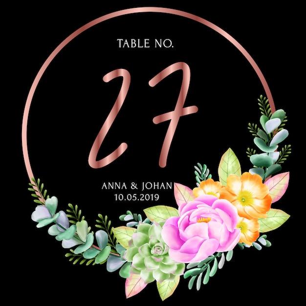 Carte de numéro de table beauté floral frame Vecteur Premium
