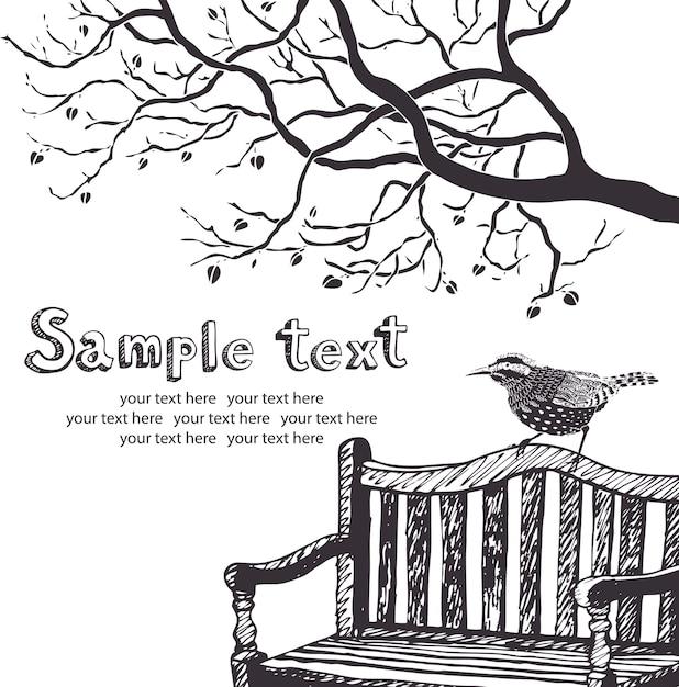 Carte d'oiseau et d'arbre Vecteur gratuit