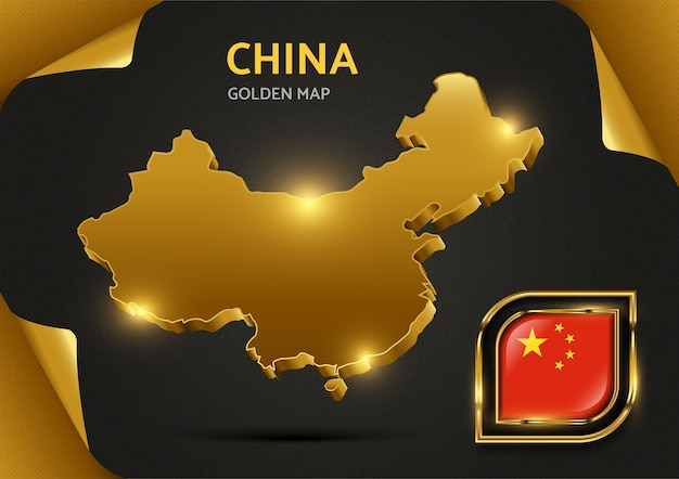 Carte D'or De Luxe Chine Vecteur Premium