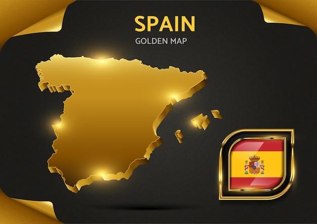 Carte D'or De Luxe Espagne Vecteur Premium