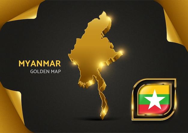 Carte D'or De Luxe Myanmar Vecteur Premium