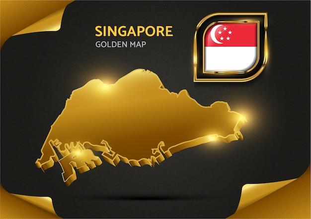 Carte D'or De Luxe Singapour Vecteur Premium